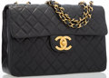 "Luxury Accessories:Bags, Chanel Black Quilted Lambskin Leather Maxi Single Flap Bag withGold Hardware. Good Condition. 13"" Width x 9"" Heightx..."