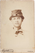 Photography:Cabinet Photos, Albumen Cabinet Card Photograph of an African-American YouthWearing a Kepi....