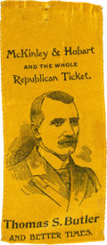 Political:Ribbons & Badges, McKinley & Hobart: 1896 Coat-tail Campaign Ribbon for Thomas S. Butler. ...