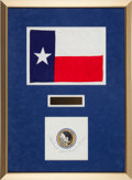 Explorers:Space Exploration, Apollo 12 Flown Large Texas Flag with Crew-Signed Beta Cloth Insignia in Framed Display, Originally from the Personal Collecti...