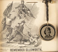 Military & Patriotic:Civil War, Colonel Elmer Ellsworth-Related Souvenirs (Two) in Period Frames Including a Button Worn by Him. ... (Total: 2 Items)