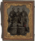 Photography:Tintypes, Civil War Musicians Sixth Plate Cased Tintype....