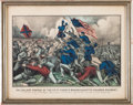 "Miscellaneous:Ephemera, [54th Massachusetts Infantry]. Original Currier & Ives Print:""The Gallant Charge of the Fifty Fourth Massachusetts (Colored) ..."