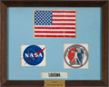 Explorers:Space Exploration, Skylab II (SL-3) Flown and Worn Spacesuit Flag, Mission Insignia,NASA Logo, and Nametag in Framed Display Directly from Jack ...