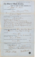 Miscellaneous:Ephemera, [Slavery]. War-Dated Bill of Sale for Six Slaves in South Carolinawith Two Photographs.... (Total: 3 Items)