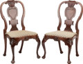 Furniture , A PAIR OF GEORGE II UPHOLSTERED MAHOGANY SIDE CHAIRS, circa 1750. 38-1/4 x 21 x 21-1/2 inches (97.2 x 53.3 x 54.6 cm). ... (Total: 2 Items)