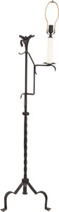 Furniture , A WROUGHT IRON FLORAL FLOOR LAMP, 20th century. 64 inches high (162.6 cm) (including light fixture). ...