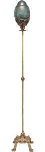 Lighting:Lamps, AMERICAN ART DECO FLOOR LAMP WITH METAL BASE AND GLASS SHADE, circa 1930. 66 inches high (167.6 cm) (to top of shade). PRO... (Total: 2 Items)