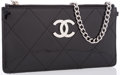 "Luxury Accessories:Accessories, Chanel Black Patent Leather Clutch Bag with Silver Hardware.Very Good to Excellent Condition. 7"" Width x 3.5"" Height..."