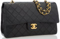 """Luxury Accessories:Bags, Chanel Black Quilted Lambskin Leather Medium Double Flap Bag withGold Hardware . Good to Very Good Condition . 10""""Wi..."""