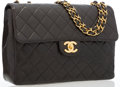 """Luxury Accessories:Bags, Chanel Black Quilted Lambskin Leather Jumbo Single Flap Bag withGold Hardware. Good to Very Good Condition. 12""""Width..."""