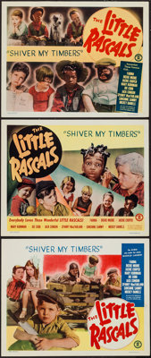"""Little Rascals in Shiver My Timbers (Monogram, R-1951). Lobby Cards (3) (11"""" X 14""""). Comedy. ... (Total: 3 Ite..."""