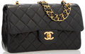 "Luxury Accessories:Accessories, Chanel Black Quilted Lambskin Leather Small Double Flap Bag withGold Hardware. Good to Very Good Condition. 9"" Width..."