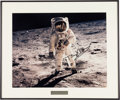 """Autographs:Celebrities, Buzz Aldrin Signed Large Apollo 11 Lunar Surface """"Visor"""" Color Photo in Framed Display with Engraved 25th Anniversary Plate, O..."""