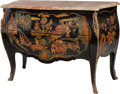 Furniture : French, A LOUIS XV-STYLE JAPANNED AND GILT BRONZE COMMODE WITH MARBLE TOP,20th century. 34-1/2 x 49-1/2 x 21-1/4 inches (87.6 x 125...