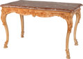 Furniture , A LOUIS XV-STYLE PROVINCIAL CARVED WOOD TABLE WITH A ROUGE MARBLE TOP, 19th century. 29-1/2 x 48 x 28-1/2 inches (74.9 x 121...
