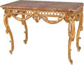 Furniture : French, A LOUIS XV-STYLE CARVED GILTWOOD TABLE WITH ROUGE MARBLE TOP, 19th century. 29-1/2 x 41-5/8 x 25-1/4 inches (74.9 x 105.7 x ... (Total: 2 Items)