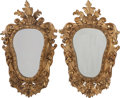 Decorative Arts, Continental, A PAIR OF ITALIAN BAROQUE CARVED GILTWOOD MIRRORS, 18th century. 47inches (119.4 cm). ...