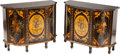 Furniture : Continental, A PAIR OF CONTINENTAL PAINTED WOOD CABINETS WITH MARBLE TOPS, 20thcentury. 32-1/2 x 41-3/4 x 18 inches (82.6 x 106.0 x 45.7...