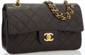 "Luxury Accessories:Bags, Chanel Black Quilted Lambskin Leather Small Double Flap Bag withGold Hardware . Good to Very Good Condition . 9""Widt..."
