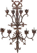 Lighting:Sconces, A WROUGHT IRON EIGHT-LIGHT WALL SCONCE, early 20th century. 48 inches high (121.9 cm). ...