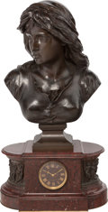 Timepieces, A NAPOLEON III BRONZE AND ROUGE MARBLE FIGURAL MANTLE CLOCK SIGNED BARBEDINNE, 19th century. 31 x 15-1/2 x 8-1/2 inches (78.... (Total: 2 Items)