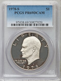 Eisenhower Dollars, 1971-1978 $1 Set of 11 Silver & Clad Eisenhower Dollars PR69 Deep Cameo PCGS. This set includes: 1971-S Silver; 1972-... (Total: 11 coins)