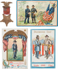 Military & Patriotic:Civil War, Grand Army of the Republic Chromolithograph Postcards and GAR Member's Medal.... (Total: 4 Items)