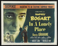 "In a Lonely Place (Columbia, 1950). Half Sheet (22"" X 28"") Style B. Film Noir"