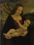 19th Century European, Attributed to Marco de Oggiono. Madonna and Child. Oil onwood board. 21-1/2 x 16-1/4 inches (54.6 x 41.3 cm). ...