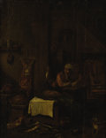 Fine Art - Painting, European, 19th Century Continental School. The Butcher. Oil on canvas. 18-1/4 x 14 inches (46.2 x 35.6 cm). ...