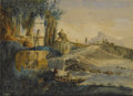 Fine Art - Painting, European:Antique  (Pre 1900), Attributed to CESARE BISEO (Italian 1843-1909). Landscape withClassical Ruins. Watercolor on paper. 8 x 11 inches (20.3...