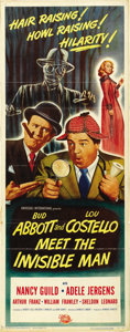 """Movie Posters:Comedy, Abbott and Costello Meet the Invisible Man (UniversalInternational, 1951). Insert (14"""" X 36"""")...."""
