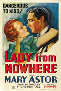 "Movie Posters:Drama, Lady From Nowhere (Columbia, 1933). One Sheet (27"" X 41""). ..."