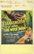 "Movie Posters:Horror, Frankenstein Meets the Wolf Man (Universal, 1943). Window Card (14""X 22""). ..."