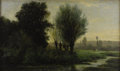 Paintings, AUGUSTE ALLONGE (French 1833-1898). River Landscape with Grazing Cattle. Oil on canvas laid on panel. 13 x 22 inches...