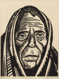 Texas:Early Texas Art - Drawings & Prints, REID CROWELL (1911-1991). Old Mexican Woman. Block print on paper. 8-1/2 x 6 inches (21.6 x 15.2 cm). Signed lower right...