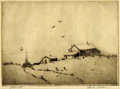 Texas:Early Texas Art - Drawings & Prints, RUBY PERKINS (dec.). Retreat. Etching on paper. 5 x 7 inches(12.7 x 17.8 cm). Signed lower right. Titled lower left. ...