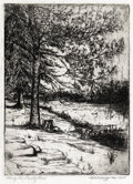 Texas:Early Texas Art - Drawings & Prints, MARGARET CARRUTH SCRUGGS (1892-1988). Along the TrinityRiver, Nov. 1925. Etching on paper. 7 x 5 inches (17.8 x 12....