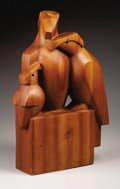 Texas:Early Texas Art - Regionalists, MIMI MURPHEY (1912-1985). Raptor Family, 1967. Woodsculpture. 21-3/8 x 14 x 5-1/2 inches (54.3 x 35.6 x 14.0 cm).Signe...