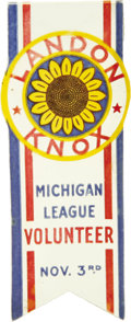 Political:Ribbons & Badges, Landon & Knox: Michigan Volunteer Celluloid Ribbon....