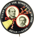 "Political:Pinback Buttons (1896-present), Bryan & Kern: ""Clean Sweep for Democracy"" Jugate...."