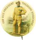 "Political:Pinback Buttons (1896-present), Theodore Roosevelt: Standing Theodore Roosevelt For Vice President1¼"" Celluloid...."
