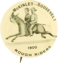 """Political:Pinback Buttons (1896-present), McKinley & Roosevelt: """"Rough Riders"""" Riding Horse with BryanHead Jugate...."""