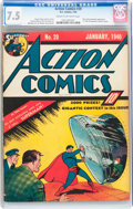 Golden Age (1938-1955):Superhero, Action Comics #20 (DC, 1940) CGC VF- 7.5 Cream to off-white pages....