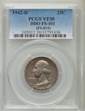 Washington Quarters, 1942-D 25C Doubled Die Obverse, FS-101, VF30 PCGS. Formerly (FS-015). PCGS Population (2/15). ...