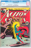 Golden Age (1938-1955):Superhero, Action Comics #48 (DC, 1942) CGC VF- 7.5 Off-white to white pages....