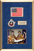 Explorers:Space Exploration, Space Shuttle Columbia (STS-1) Flown American Flag with Crew-Signed Photo in Framed Display. ...