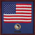 Explorers:Space Exploration, Apollo 12 Flown Largest-Size American Flag in a Framed Display,Originally from the Personal Collection of Mission Lunar Modul...
