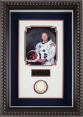 Autographs:Celebrities, Neil Armstrong Signed Baseball and White Spacesuit Color Photo inFramed Shadow Box Display, includes PSA/DNA Auction LOA....